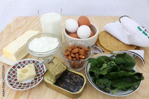 Fotografía  Group of calcium-rich foods,