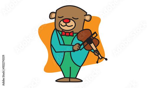 Deurstickers Babykamer Bear Playing Music
