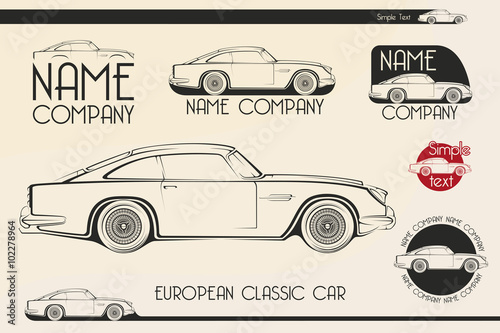 фотография  European classic sports car, silhouettes, logo