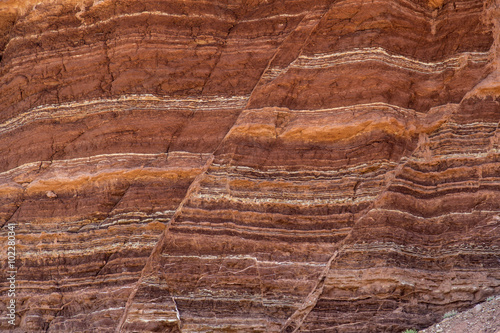 Fault lines and colorful layers in sandstone