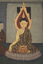BANGKOK, THAILAND - JULY 28,2014 : Ancient Buddhist Temple Mural Painting       .of The Life Of Buddha Inside Of Wat Pho In Bangkok, Thailand
