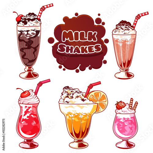 Fotografie, Obraz  Set of different milkshakes.