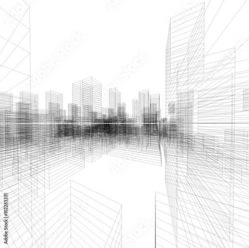 perspective 3d render of building wireframe buy this stock photo