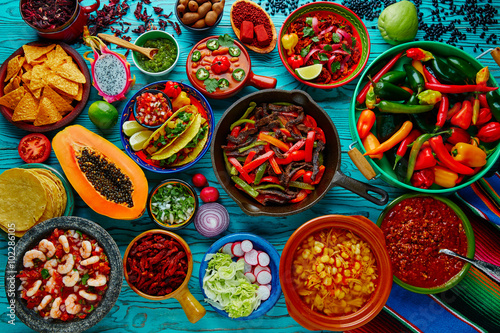 Fotografía  Mexican food mix colorful background