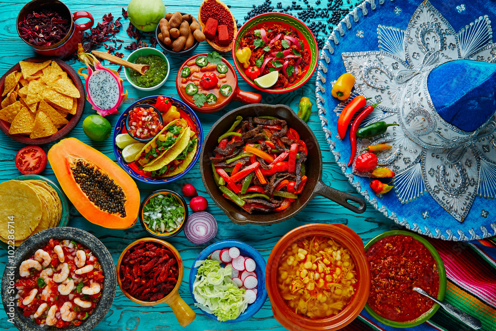 Fototapety, obrazy: Mexican food mix colorful background