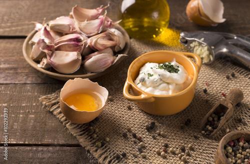 Garlic dip in a cute bowl Wallpaper Mural