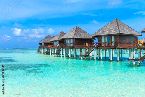 Photo Stands Turquoise beach with Maldives