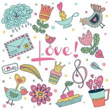 Cute Love Vector Set.