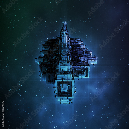 Photo  Leviathan / 3D render of large spaceship