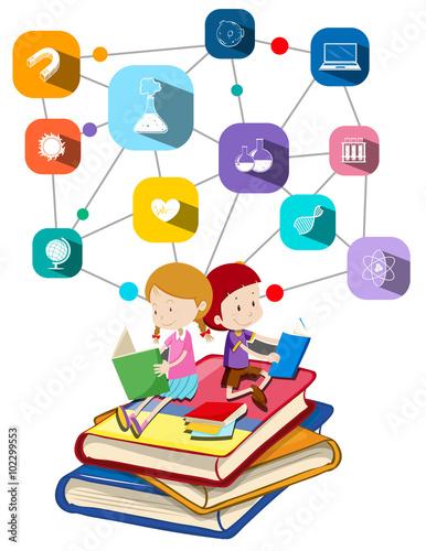 dziewczyna-i-chlopiec-czytajace-edukacyjne-ksiazki-ilustracja