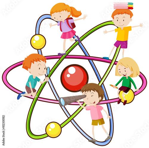 dzieci-na-symbole-atomu-ilustracja