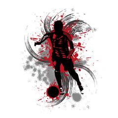 Obraz na SzkleFußballspieler vor rotem Hintergrund mit Farbspritzern