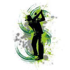 Panel Szklany Podświetlane Golf Golfspieler vor grünem Hintergrund