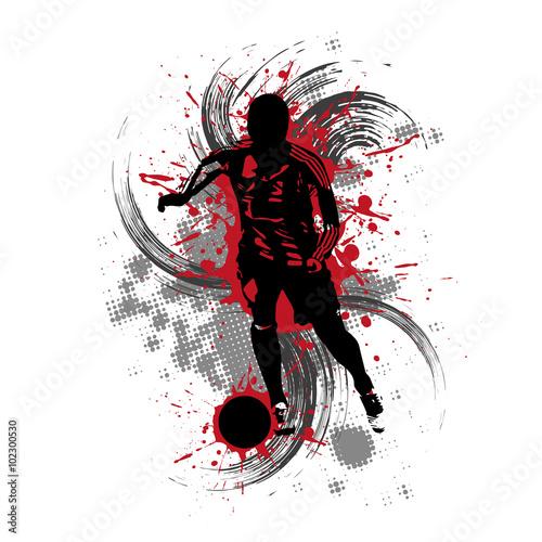 Fußballspieler vor rotem Hintergrund mit Farbspritzern - 102300530