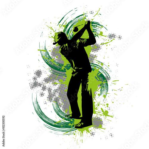 Golfspieler vor grünem Hintergrund - 102300592