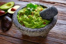 Avocado Guacamole On Molcajete Real Mexican