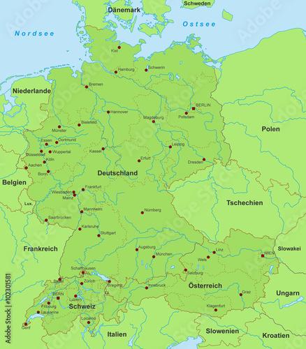 Deutschland Osterreich Schweiz Karte Detailliert Buy This