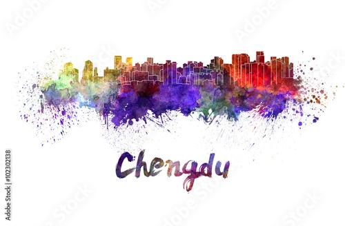 Платно  Chengdu skyline in watercolor