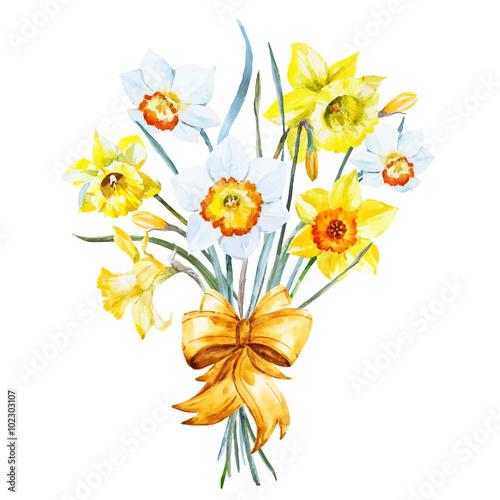 Watercolor Spring Flowers Kaufen Sie Diese Vektorgrafik Und Finden