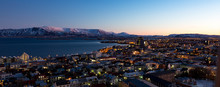 Reykjavik Skyline At Dawn In Iceland.