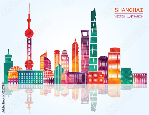 Photo  Shanghai detailed skylines. vector illustration
