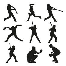Set Of Baseball Players Silhouettes. Batter, Catcher, Pitcher, B