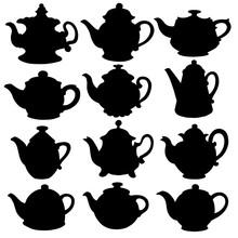 Black Silhouettes Kettles, Tea...