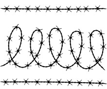 Vector Set Of Barbed Wire Silhouettes