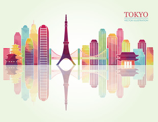 Panel SzklanyTokyo detailed skylines. vector illustration