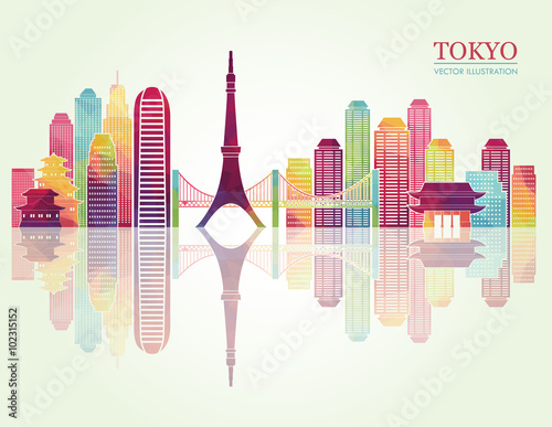Tokyo detailed skylines. vector illustration - 102315152