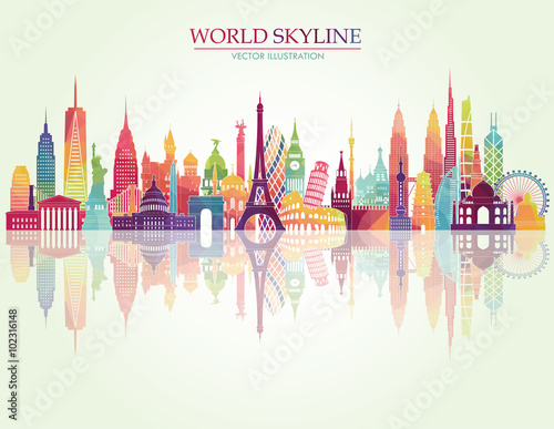 Cuadros en Lienzo World famous monuments skyline