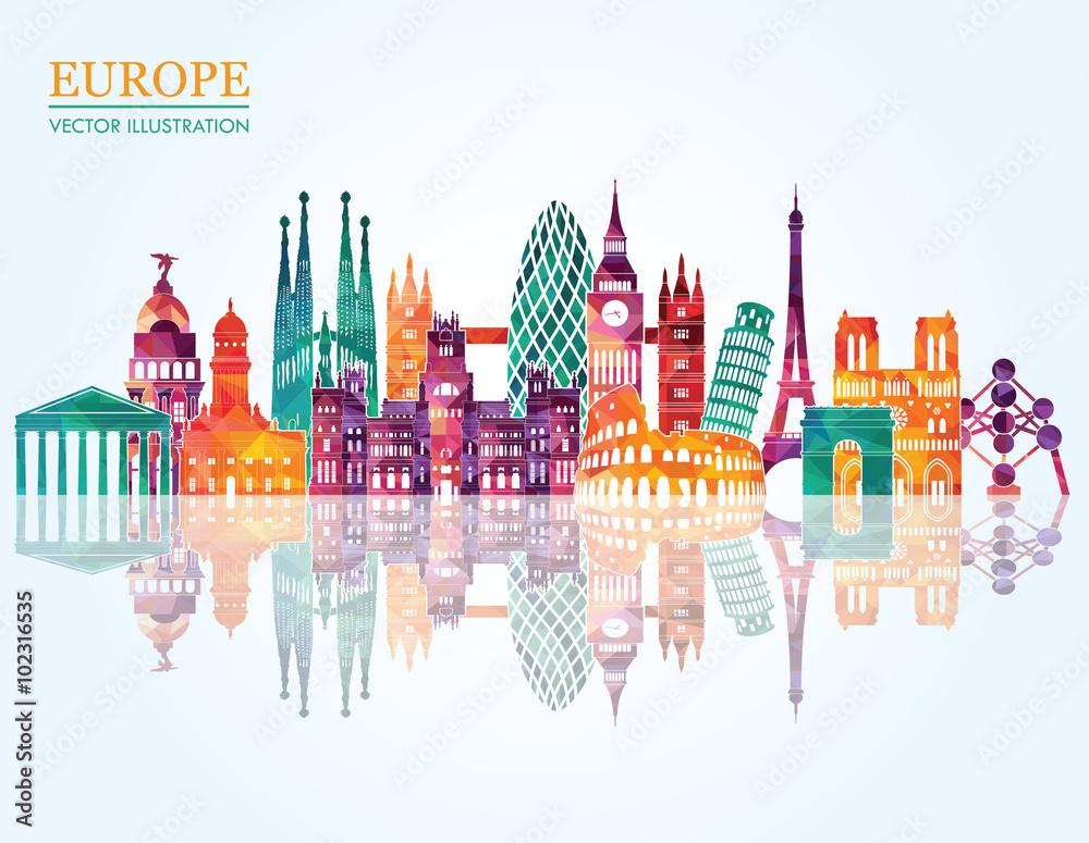 Fototapeta Europe skyline detailed silhouette. Vector illustration