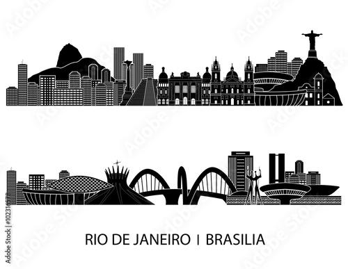 Rio De Janeiro skyline detailed silhouette. Vector illustration Fototapete
