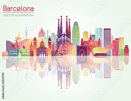 Barcelona skyline detailed silhouette. Vector illustration Poster