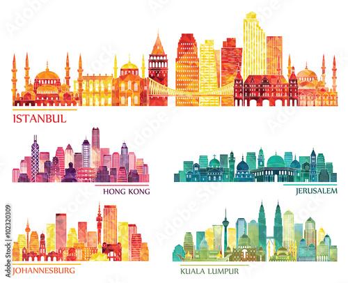 Fototapeta premium zestaw szczegółowy sylwetka panoramę (Stambuł, Hongkong, Kuala Lumpur, Jerozolima, Johannesburg). Ilustracji wektorowych
