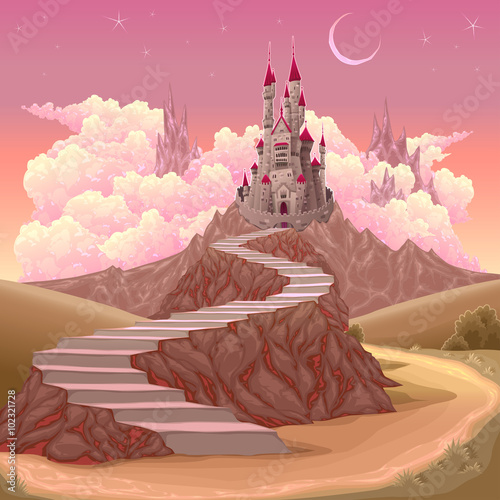 Fantasy landscape with castle Poster
