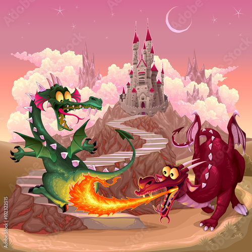 fototapeta na drzwi i meble Funny dragons in a fantasy landscape with castle