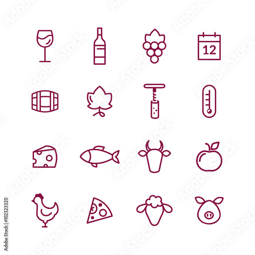 Fotografia, Obraz  Wine and food pairing line icons