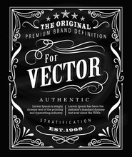 Antique Label Typography Poster Vintage Frame Blackboard Design