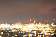 Abstract Bokeh Of Petrochemical Plant Twightlight Time