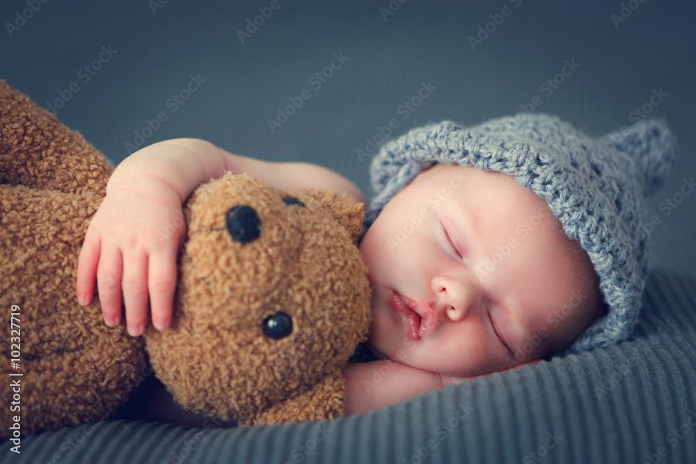 Fototapeta sleeping newborn baby