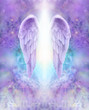 Lilac Angel Wings - beautiful pair of lilac Angel wings with white light flowing down between, floating on an intricate lace like lilac and turquoise colored energy formation background