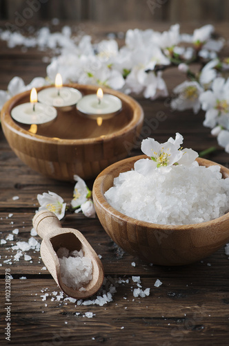 SPA treatment with salt, almond and candles Poster