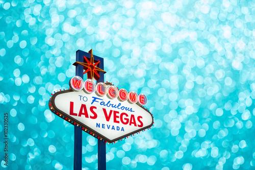 Foto op Aluminium Las Vegas Las vegas sign on blur bokeh background