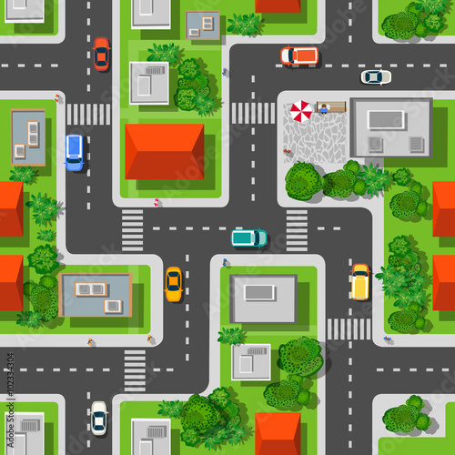 Cotton fabric Top view of the city seamless pattern of streets, roads, houses, and cars