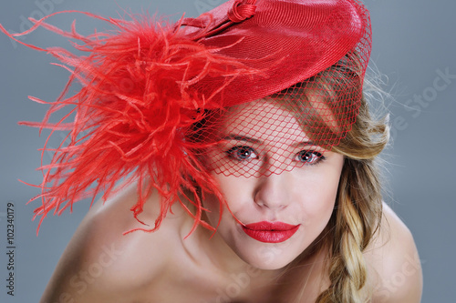 Fashion Woman Closeup Portrait With Red Lipstick And Trendy