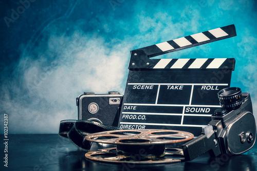 Obraz na plátně Retro film production accessories still life