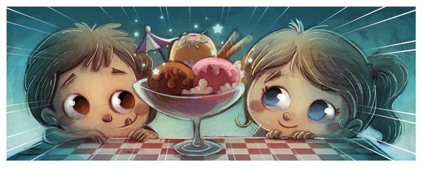 Obraz na Szkle Słodycze niños comiendo helado