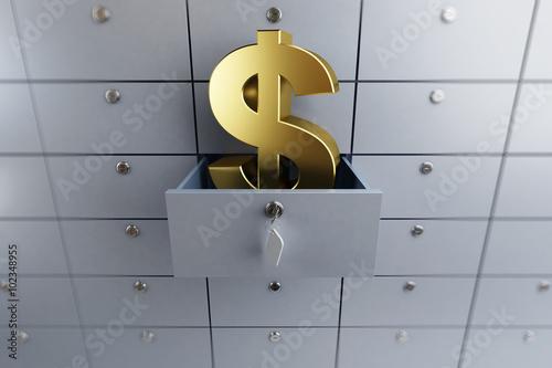 Fototapeta opened empty bank deposit cell dollar sign obraz