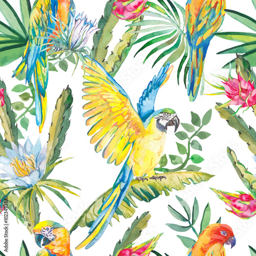 Fotobehang Papegaai Parrots and exotic flowers. Macaw seamless pattern.Topical flower,leaves pitaya.Dragonfruit.